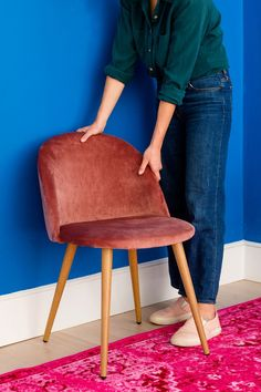 Save this step-by-step DIY to upgrade any small space with a bold paint color, velvet furniture, vertical storage, and a neon sign, for a quick + easy living room makeover. Velvet Furniture, Deco Furniture, Refurbished Furniture, Living Room Furniture, Living Room Decor, Furniture Ideas, Front Room Decor, Home Design Living Room, Vertical Storage