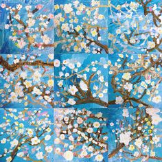 Noah saved to Grade cherry blossom painting. Group Art Projects, Spring Art Projects, Art Projects For Adults, Toddler Art Projects, Cherry Blossom Watercolor, Cherry Blossom Art, Arte Elemental, Classe D'art, Tree Watercolor Painting