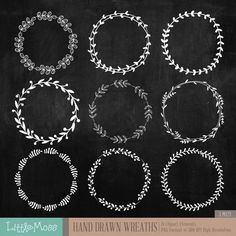 Hand Drawn Wreaths Digital Clipart Chalkboard by LittleMoss