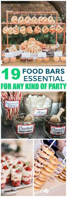 These 19 Food Bars Will Have All Your Guests Talking About Them For WEEKS! I love all the options from main courses, desserts, appetizers, drinks, and even snacks!