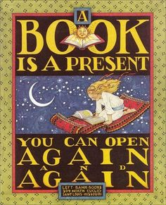A Book is a Present You Can Open Again and Again ... scanned greeting card designed by Mary Engelbreit