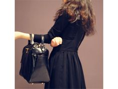 1e8c4292c7 Black Suede and  Leather  Handbag with Dual  Straps Black Suede