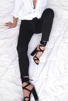 Black wraparound strappy heels