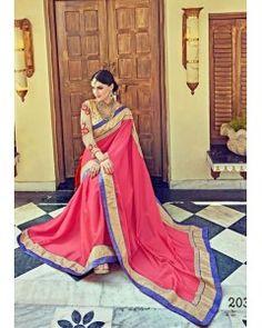 Coral Satin Silk Partywear Saree