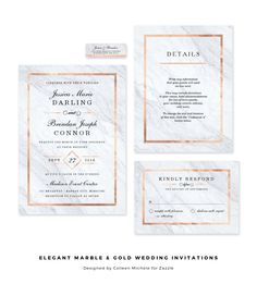 Love the elegant combination of rose gold with white marble in these modern wedding invitations.