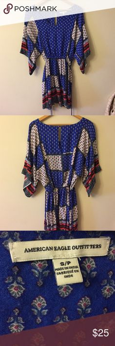 American Eagle Bohemian Chic Boho Chic sun dress American eagle dress. Boho chic. SUPER soft. Red white and blue. Worn once for Fourth of July. Size small but is baggy and comfortable. American Eagle Outfitters Dresses Mini