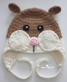 Crochet Hamster Hat - Repeat Crafter Me Crochet Santa, Crochet Bunny, Free Crochet, Crochet Frog, Crochet Christmas, Crochet Hat For Women, Crochet Kids Hats, Crocheted Hats, Chunky Crochet