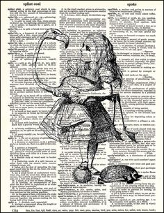 Alice and Flamingo - Dictionary Art Print