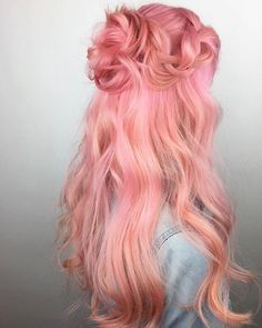 Cute half updo lovely locks в 2019 г. dyed hair, hair и joic Pretty Hairstyles, Wig Hairstyles, Pink Dye, Pastel Pink, Pink Color, Peach Hair, Long Pink Hair, Lilac Hair, Green Hair