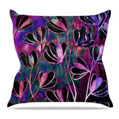 """East Urban Home Efflorescence Throw Pillow Size: 26'' H x 26'' W x 5"""" D, Color: Mixed Berry"""