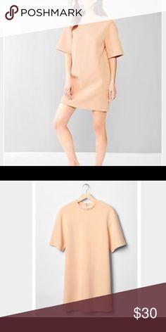 Gap scrub peach tshirt dress New Gap scrub shift tshirt dress size M peach color crew neck zipper on back GAP Dresses Midi