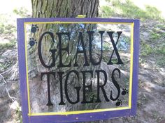 LSU  GEAUX TIGERS  Upcycled Vintage Window  by MorningWoodStudio, $90.00