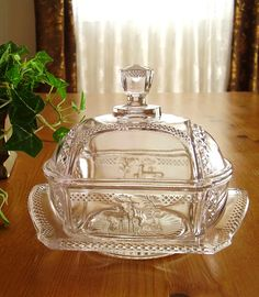 EAPG 1886 Covered Butter Dish Deer and Pine Tree EAPG Antique Glass