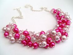 Hot Pink Pearl Beaded Necklace, Hot Pink Bridesmaid Jewelry, Cluster Necklace, Chunky Necklace, Bridesmaid Gift, Bridesmaid Necklace on Etsy, $25.93 CAD