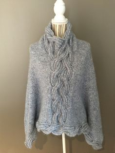 Ravelry: Frosty Waves Poncho pattern by Hilde Sørum Wave Design, Mantel, Ravelry, Waves, One Piece, Pullover, Crochet, Clothing, Pattern
