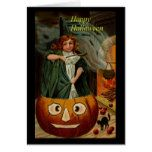 Witch and Pumkin Happy Halloween Greeting Card #halloween #happyhalloween #halloweenparty #halloweenmakeup #halloweencostume