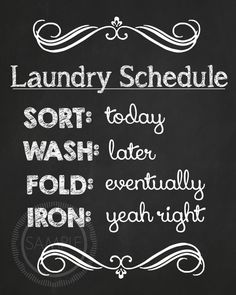 8x10 Laundry Room / Laundry Schedule by MyPrettyPartyShoppe