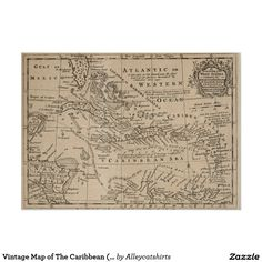 Vintage Map of The Caribbean (1763) Poster