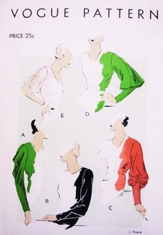 30s RARE Dress Frock Sleeves Pattern VOGUE 6238 Stunning 4 Ultra Art Deco Sleeve Styles Beautiful Designs Vintage Sewing Pattern RARE