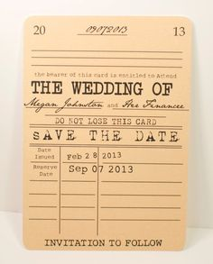 Library card inspired save-the-dates