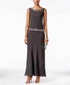 J Kara Embellished Popover Gown