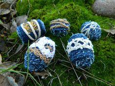 Denim handmade beads Fabric beads