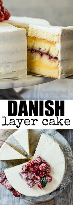 Danish Layer Cake Dress up a cake mix with layers of vanilla pudding and raspberry jam! Danish Layer Cake is fancy without being fussy and my favorite childhood birthday cake. Cupcakes, Cupcake Cakes, Frosting Recipes, Cake Recipes, Dessert Recipes, Buttercream Frosting, Just Desserts, Delicious Desserts, Danish Food