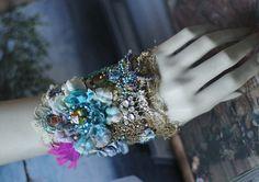 Baroque cuff bold cuff with antique laces bohemian wrist