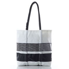 Medium Black Kevlar Stripe Tote - handcrafted from recycled sails.