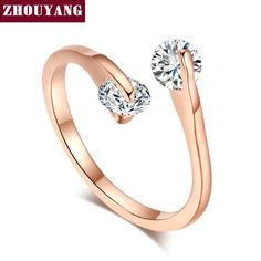 ZYR007  Fashion Design Twin Zircon CZ Engagement  Rose Gold Plated  Wedding Ring  Austrian Crystals Full Sizes Wholesale