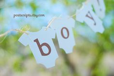It's A Boy - Blue and Brown Onesie Clothesline Banner perfect for baby shower, party, or maternity photo prop on Etsy, $13.99