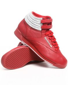 87084ba2d4fb4 Reebok Freestyle Classic Womens Hi Top Sneaker Red Silver Soft Leather All  Sizes