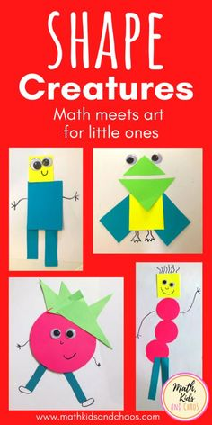 Help your toddler get to know some common 2D shapes with this fun play-based shape activity. Create your own shape creatures using squares, circles, triangles and rectangles. Your child can use their imagination and get creative whilst also learning math! Great for toddlers and preschoolers. #shape #preschoolmath #toddleractivities #mathkidsandchaos #mathcrafts Math Crafts, Preschool Crafts, Craft Activities For Toddlers, Shape Activities, Shapes For Kids, Learning Shapes, Easy Arts And Crafts, Shape Crafts, Fun Math