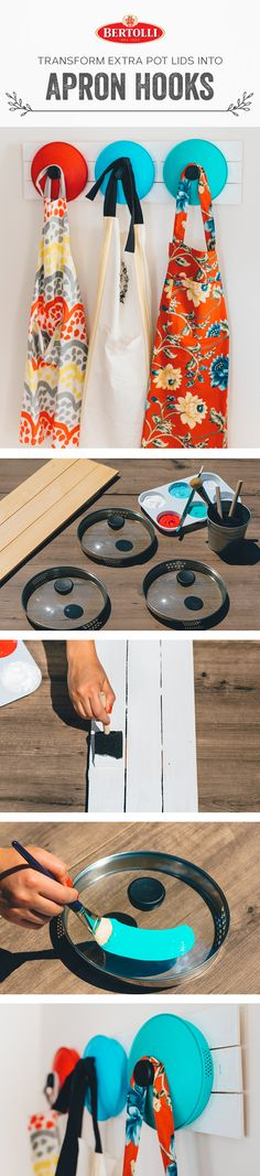 Goodbye old pot lids, hello new wall rack. By simply mounting old pasta pot lids on a sturdy board, you'll get a wall rack ideal for hanging aprons and other small, lightweight items.