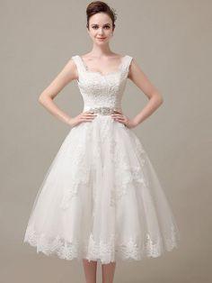 Retro Lace Tea Length Wedding Dress | DV3018