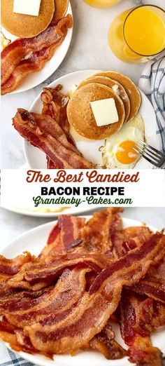 This Candied Bacon Recipe is easy to whip up and a guaranteed family favorite! Made with thick-cut, smokey bacon, brown sugar and a cayenne kick, this pork candy is a sweet-salty concoction sent from heaven! #bacon #breakfast #candy #candiedbacon #brunch #pork #sausage