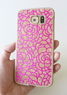 Beautiful Gorgeous Mobile Accessories handmade For Samsung Galaxy S6 Rose Pink Camellia Floral Flower design hand painted DIY cellphone mobile phone cover case faceplate uniquely made by Yunikuna