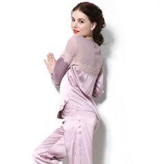 dce2b20a81 Lace Back Silk Pajamas Sleepwear For Women