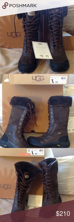 UGG TALL ADIRONDACK BOOTS Waterproof! Brand new in box. I can sell it cheaper without the box. Waterproof. You can roll the flaps up for more warmth. Size 9 1/2. Fully lined. REASONABLE offers welcome. NO TRADES ‼️ closet clear out. I'm relocating in 1 month. Measurements: Heel Height: 1 1⁄2 in. Shaft: 12 in UGG Shoes Winter & Rain Boots