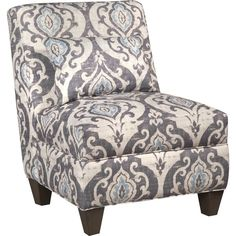 Add a decorative chair anywhere in the home. Constructed with solid wood frame and soft gray fabric.