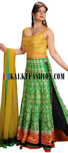Buy Online from the link below. We ship worldwide (Free Shipping over US$100)  http://www.kalkifashion.com/green-and-gold-anarkali-suit-featuring-with-side-slits.html