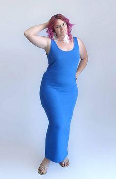 Theatrical Romantic SALE 10% OFF Royal Blue Ribbed Tank Top Dress Beach Dress