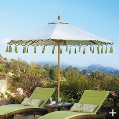 One Kings Lane-Carousel Gingko Outdoor Umbrella