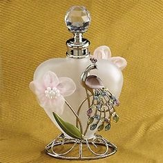 Glass Heart Perfume Bottle with Peacock Design