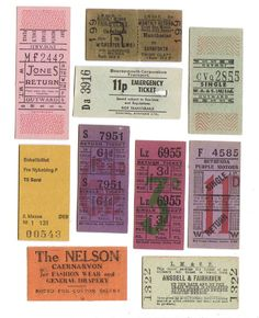 10 LONDON and UK vintage tickets - FREE shipping
