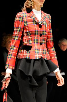 Moschino Fall 2013 - Details. Tartan! I have a school girl's crush on Moschino at Milan Fashion Week.