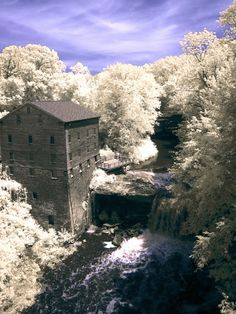 A Frosted Lanterman's Mill inside Mill Creek Park, Youngstown, Ohio. One of Mahoning County's most historic landmarks, Lanterman's Mill was built in 1845-46 by German Lanterman and Samuel Kimberly.