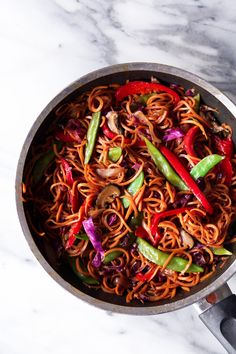 Stir-Fried Spiralized Sweet Potato Noodles | Grain, gluten, and dairy free. Paleo and vegan friendly
