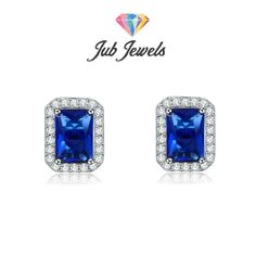 Blue Topaz Border Set Stud Earrings - Jub Jewels