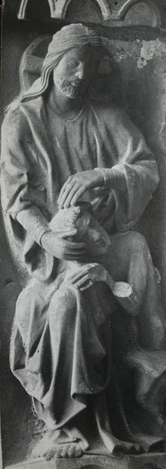 Christ & Adam at Chartres / This is a stone carving over the north porch of the cathedral of Our Lady at Chartres, so small and among so many other carvings one has to look very carefully to see it. It is for me one of the most powerful religious images I know of. Creation as an act of love. Adam (and thus all of us) bearers of God's image. / Jim Forest